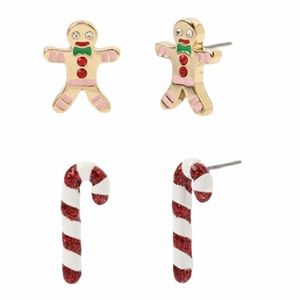 Betsey Johnson Gingerbread Man, Candy Cane Earring